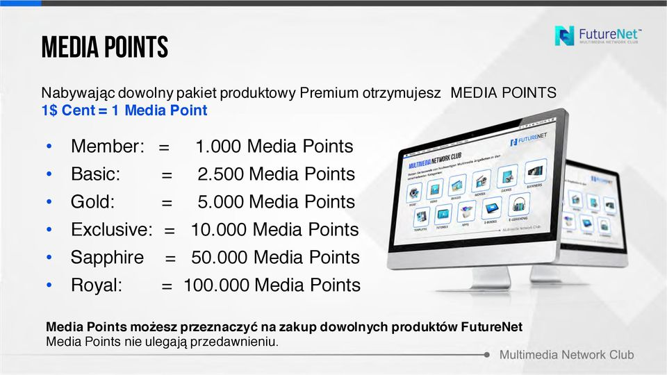 000 Media Points Exclusive: = 10.000 Media Points Sapphire = 50.000 Media Points Royal: = 100.