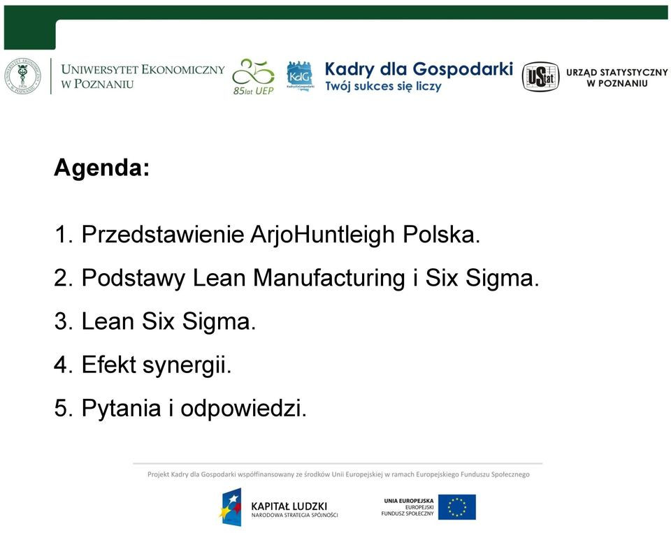 Podstawy Lean Manufacturing i Six