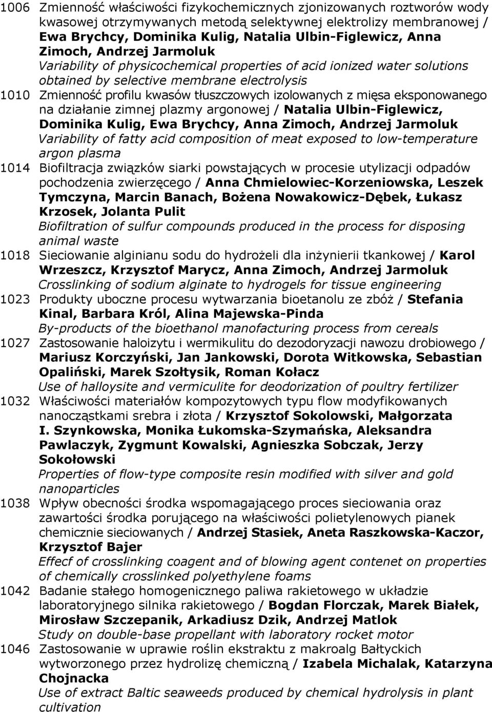 izolowanych z mięsa eksponowanego na działanie zimnej plazmy argonowej / Natalia Ulbin-Figlewicz, Dominika Kulig, Ewa Brychcy, Anna Zimoch, Andrzej Jarmoluk Variability of fatty acid composition of