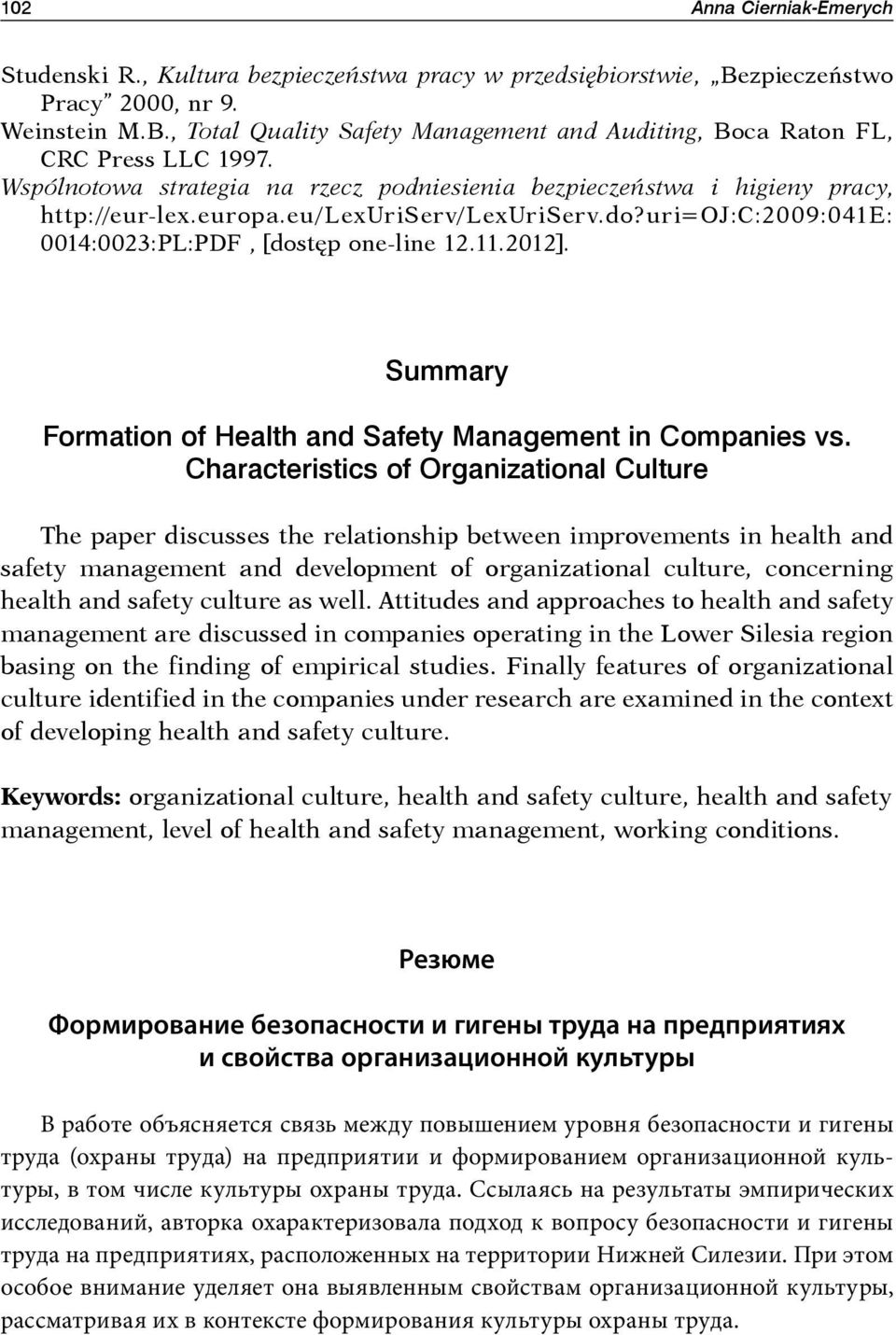 Summary Formation of Health and Safety Management in Companies vs.
