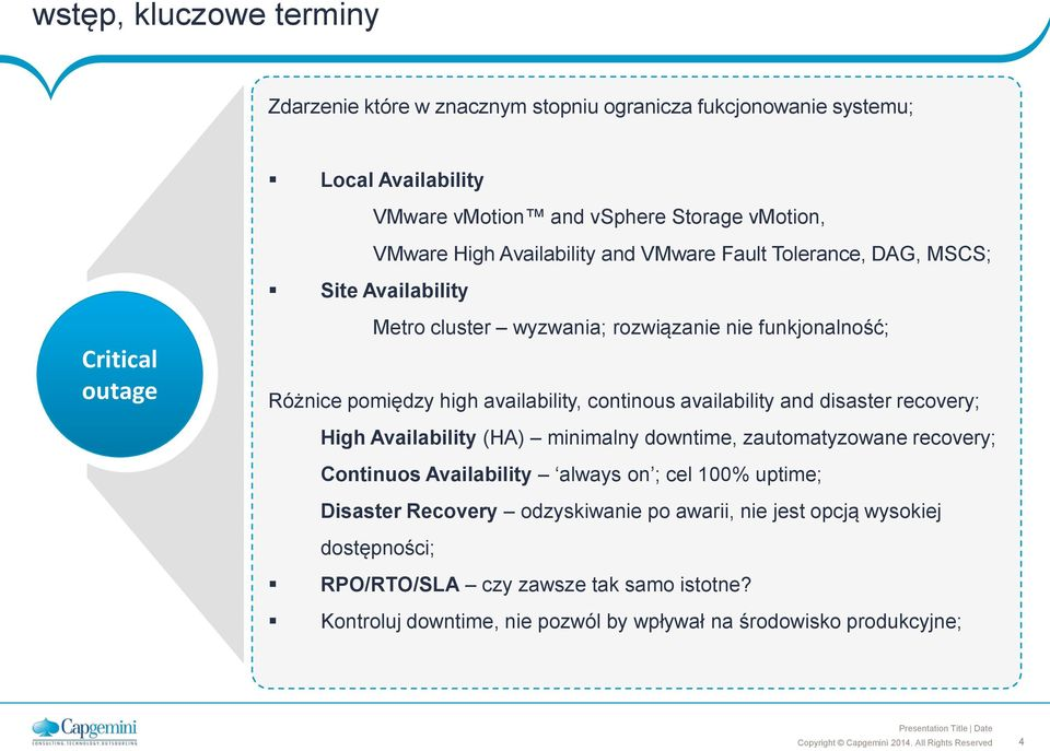 availability, continous availability and disaster recovery; High Availability (HA) minimalny downtime, zautomatyzowane recovery; Continuos Availability always on ; cel 100%