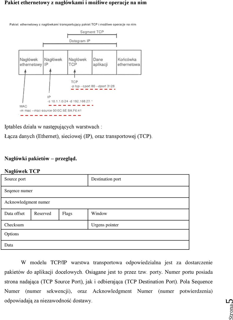 Nagłówek TCP Source port Destination port Seqence numer Acknowledgment numer Data offset Reserved Flags Window Checksum Urgens pointer Options Data W modelu TCP/IP warstwa