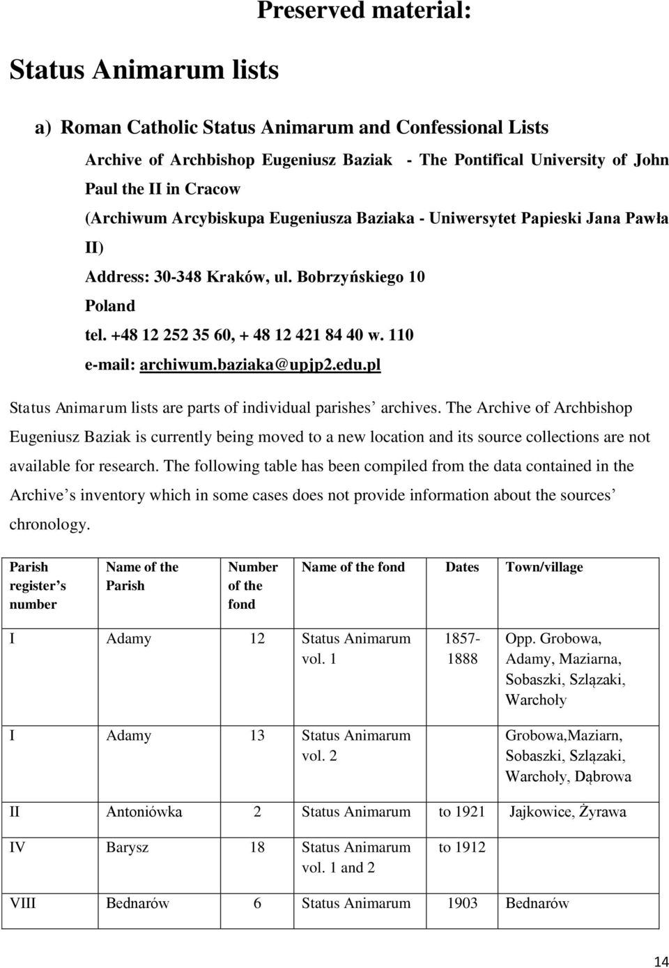 baziaka@upjp2.edu.pl Status Animarum lists are parts of individual parishes archives.