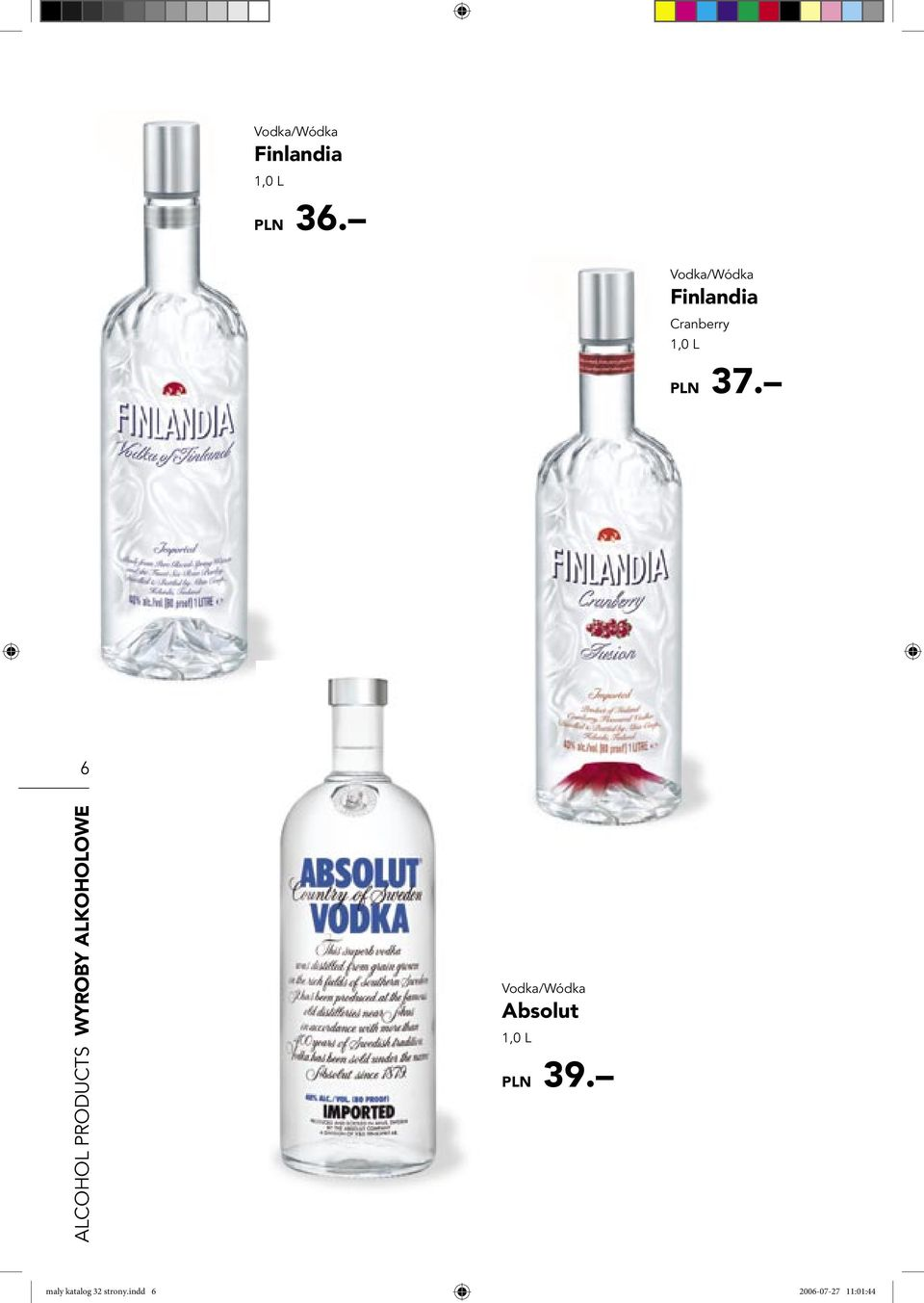 6 ALCOHOL PRODUCTS WYROBY ALKOHOLOWE Vodka/Wódka