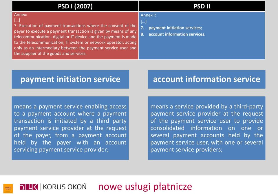 telecommunication, IT system or network operator, acting only as an intermediary between the payment service user and the supplier of the goods and services. PSD II Annex I: [ ] 7.