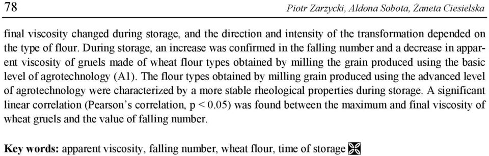 of agrotechnology (A1). The flour types obtained by milling grain produced using the advanced level of agrotechnology were characterized by a more stable rheological properties during storage.
