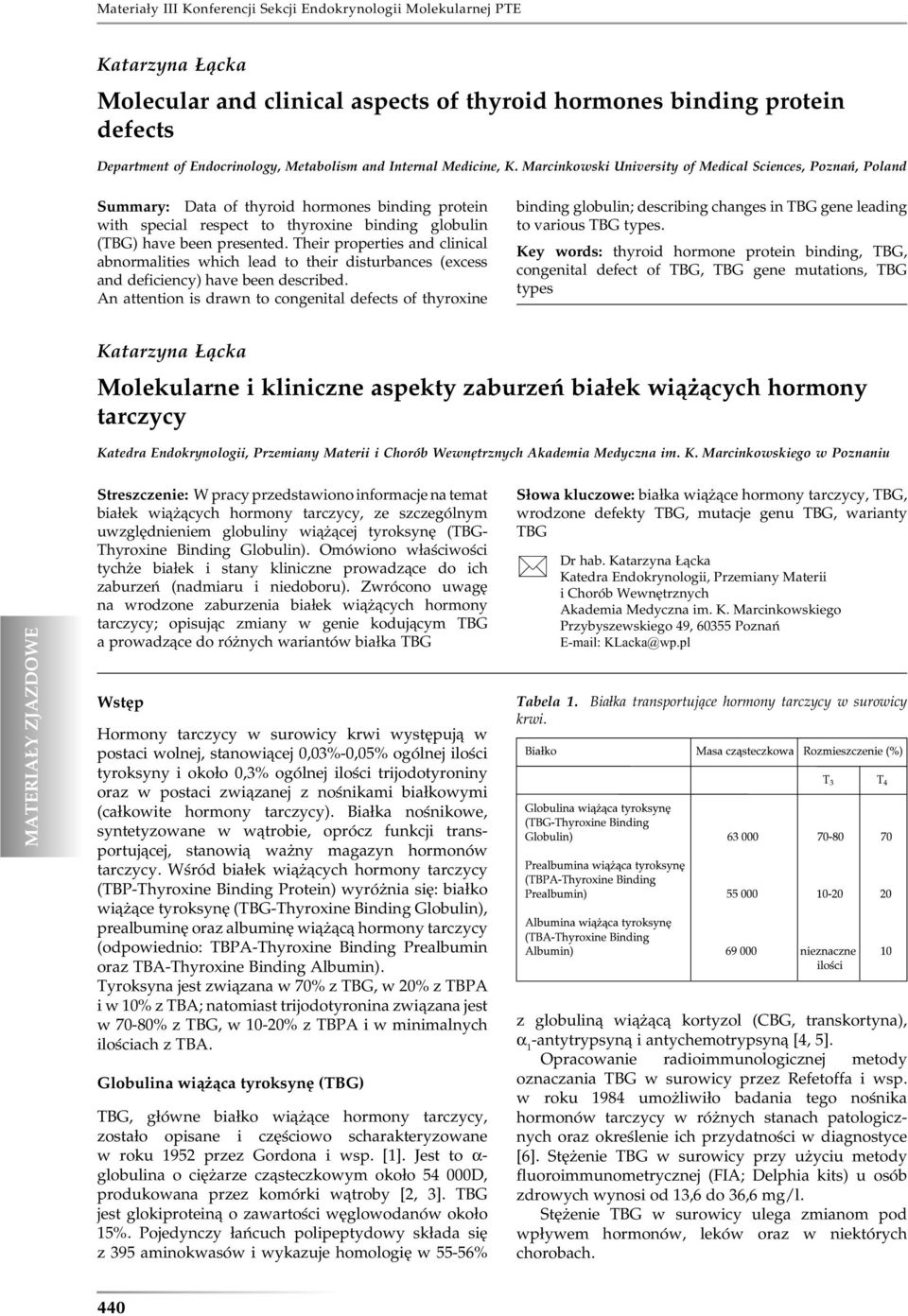 Marcinkowski University of Medical Sciences, Poznań, Poland Summary: Data of thyroid hormones binding protein with special respect to thyroxine binding globulin (TBG) have been presented.