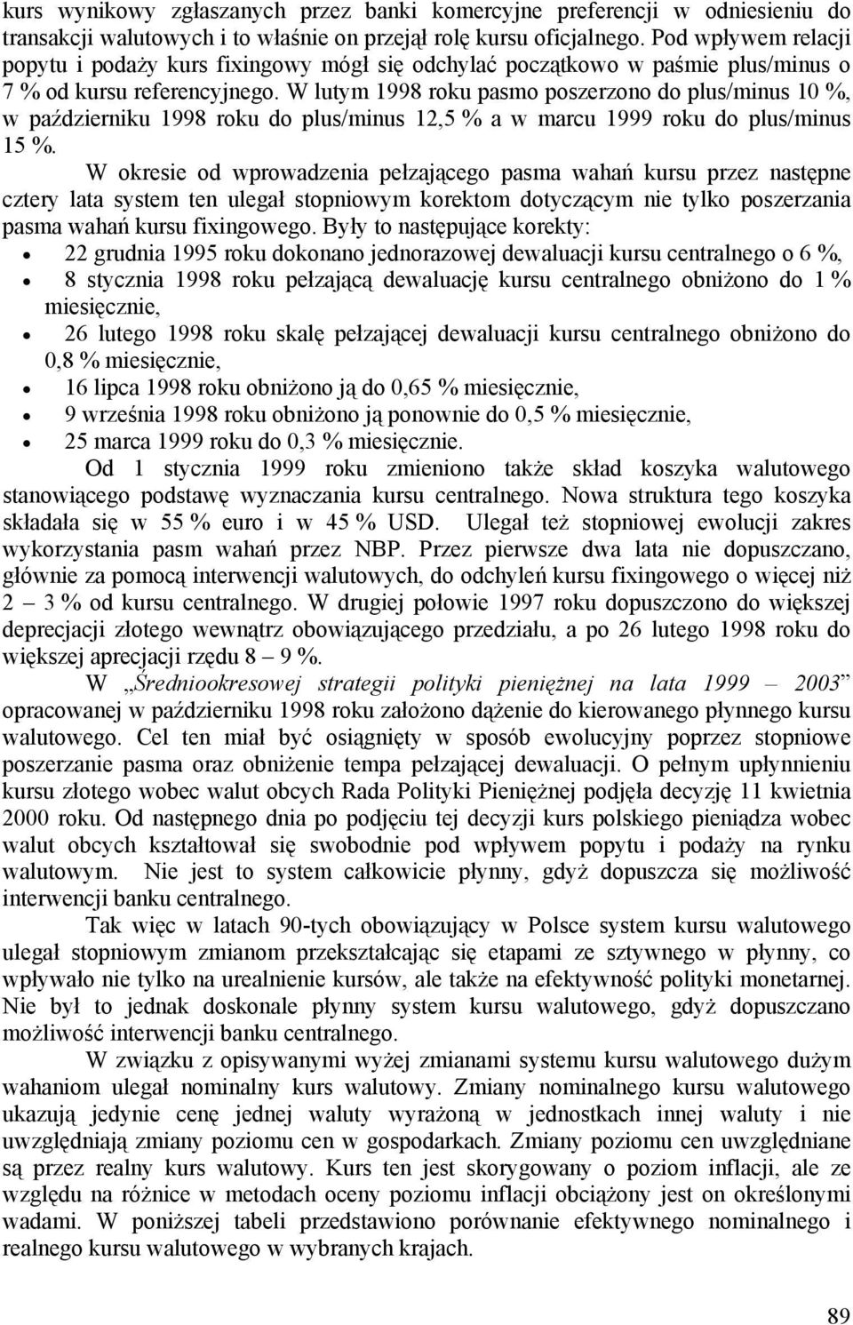 W lutym 1998 roku pasmo poserono do plus/minus 10 %, w paźdierniku 1998 roku do plus/minus 12,5 % a w marcu 1999 roku do plus/minus 15 %.