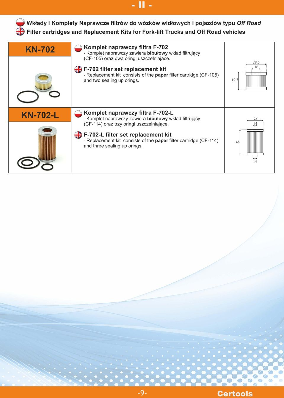 F-702 filter set replacement kit - Replacement kit consists of the paper filter cartridge (CF-105) and two sealing up orings.