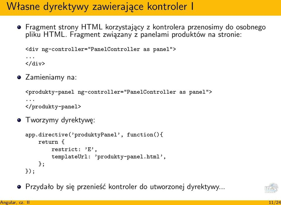 "Fragment związany z panelami produktów na stronie: <div ng-controller=""panelcontroller as panel"">."