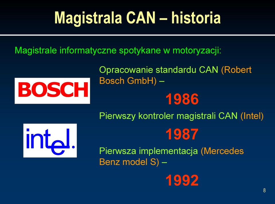 (Robert Bosch GmbH) 1986 Pierwszy kontroler magistrali CAN