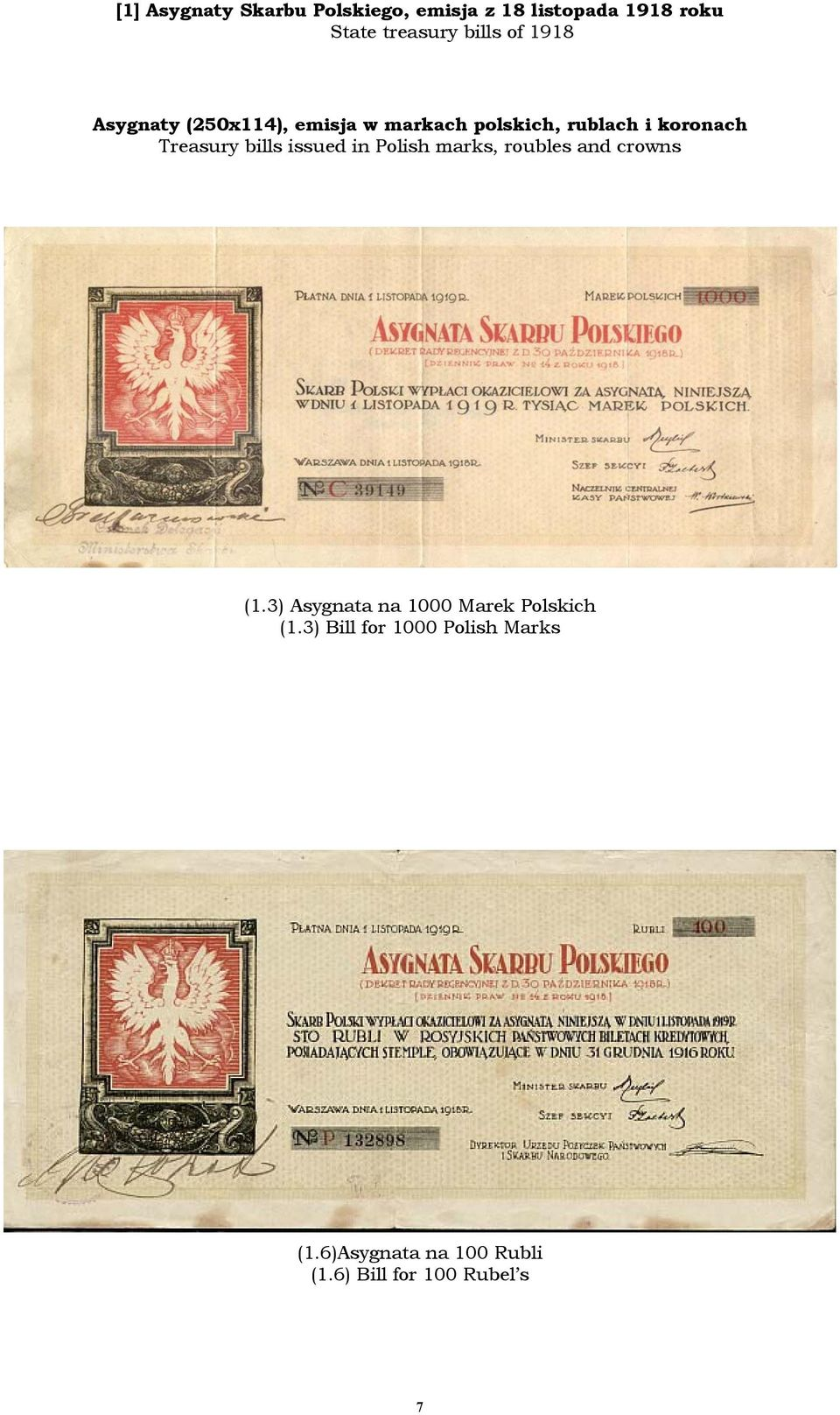 bills issued in Polish marks, roubles and crowns (1.
