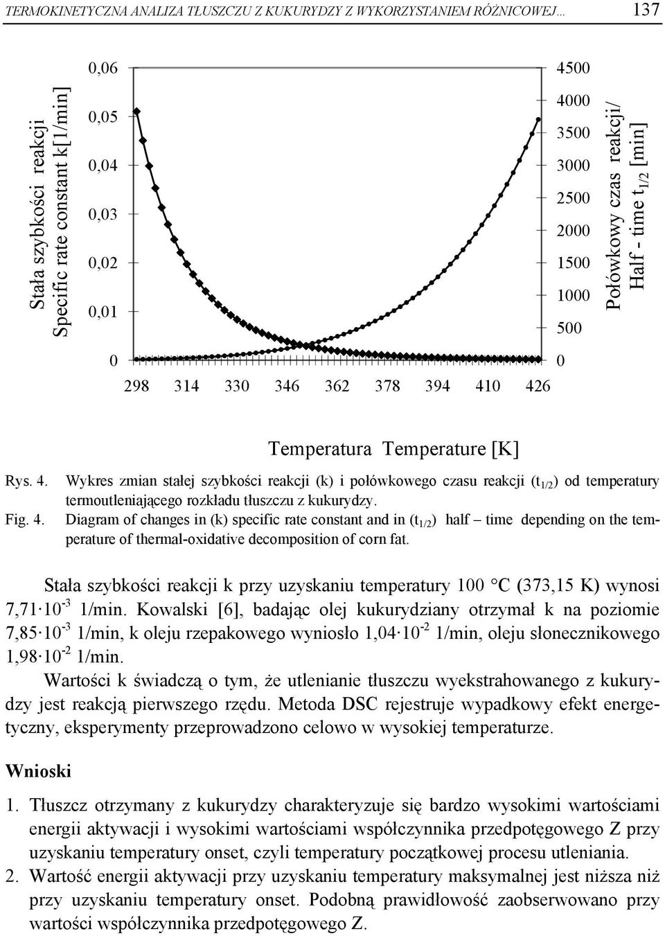 Fig. 4. Diagram of changes in (k) specific rate constant and in (t 1/2 ) half time depending on the temperature of thermal-oxidative decomposition of corn fat.