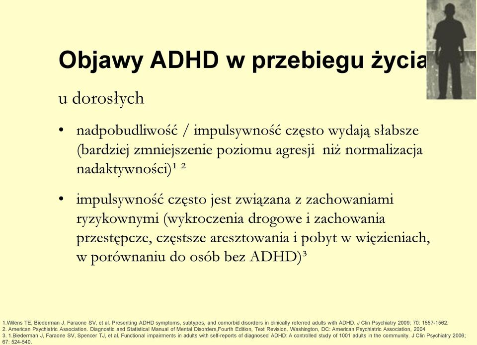 Wilens TE, Biederman J, Faraone SV, et al. Presenting ADHD symptoms, subtypes, and comorbid disorders in clinically referred adults with ADHD. J Clin Psychiatry 2009; 70: 1557-1562. 2. American Psychiatric Association.