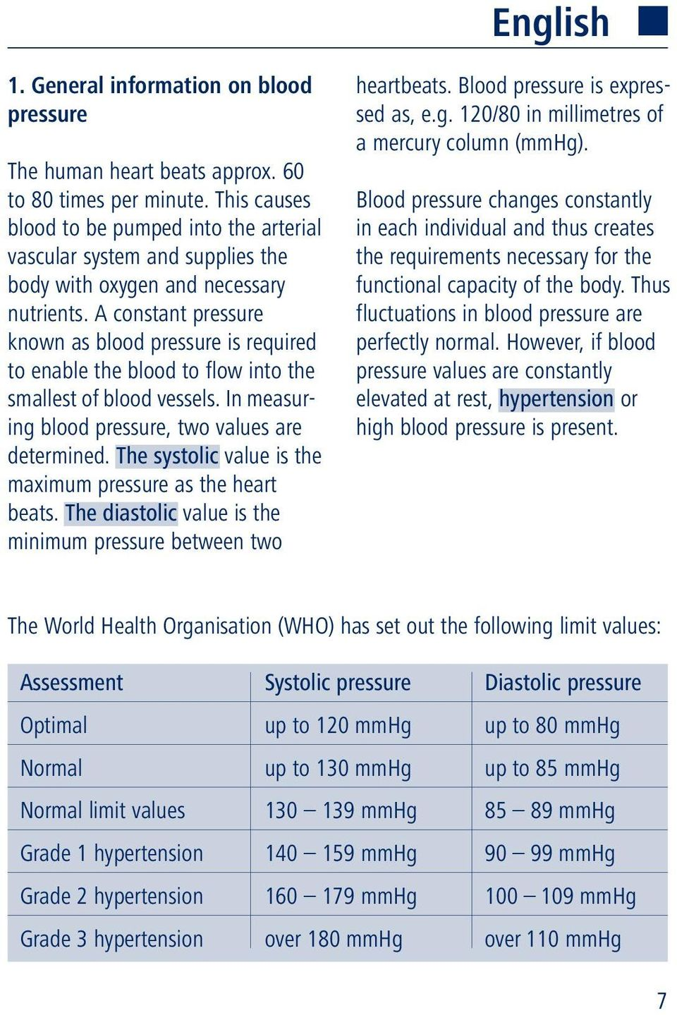 A constant pressure known as blood pressure is required to enable the blood to flow into the smallest of blood vessels. In measuring blood pressure, two values are determined.