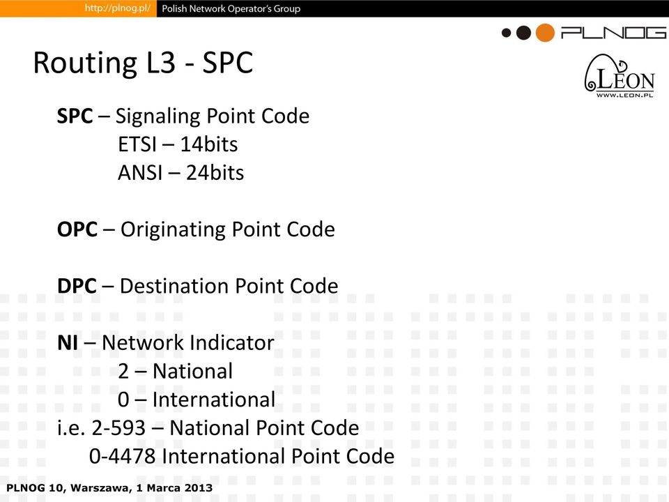 Point Code NI Network Indicator 2 National 0