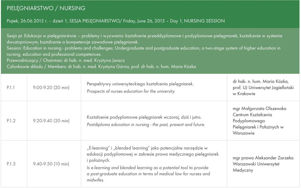 Session: Education in nursing - problems and challenges: Undergraduate and postgraduate education, a two-stage system of higher education in nursing, education and professional competences.