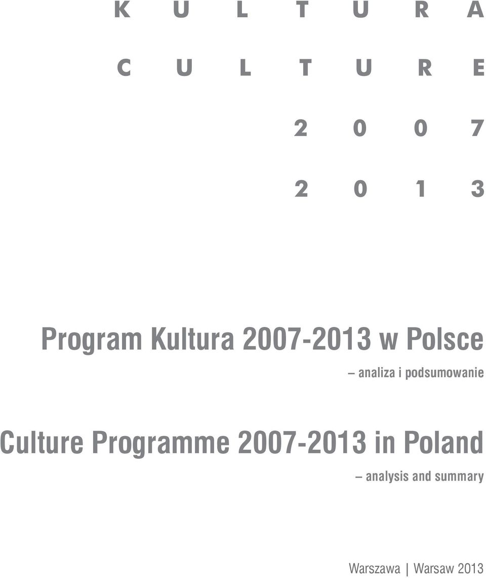 Programme 2007-2013 in Poland