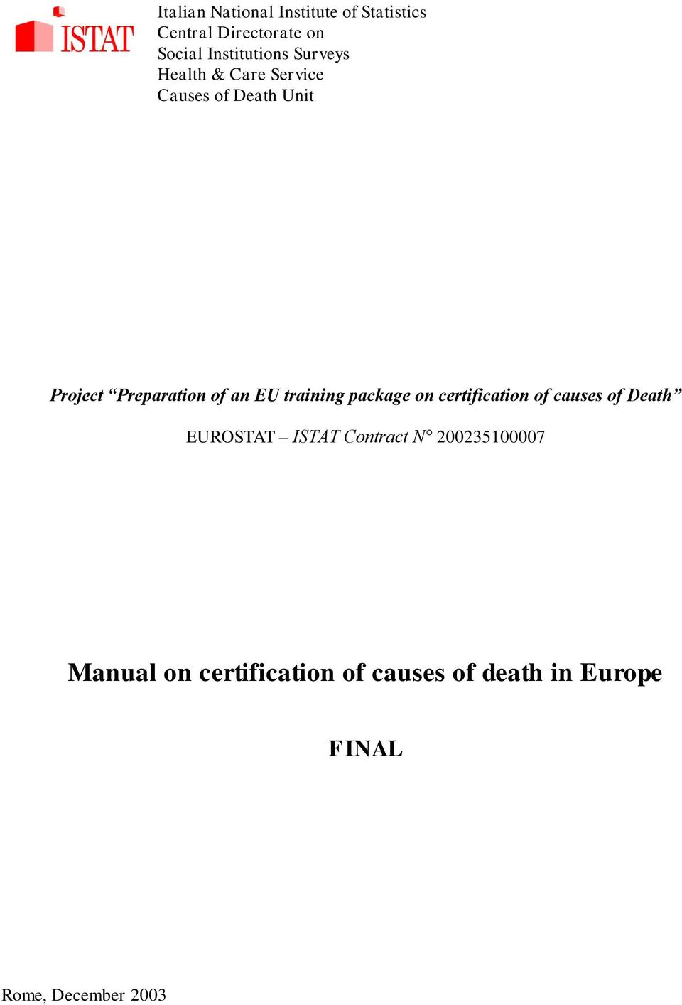 training package on certification of causes of Death EUROSTAT ISTAT Contract N