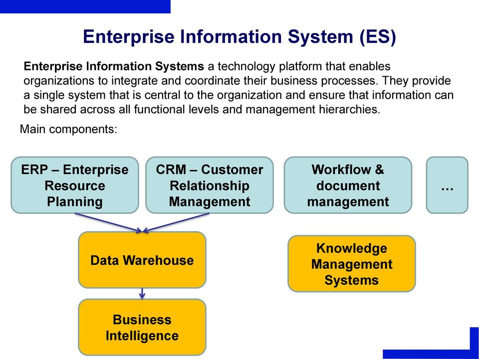 They provide a single system that is central to the organization and ensure that information can be shared across all functional