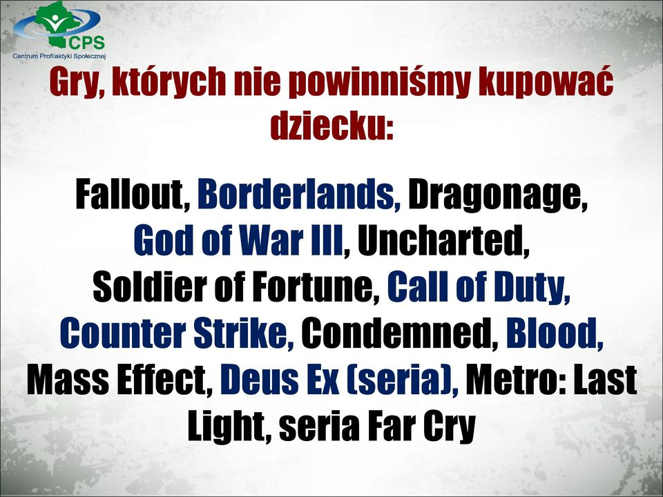 of Fortune, Call of Duty, Counter Strike, Condemned,