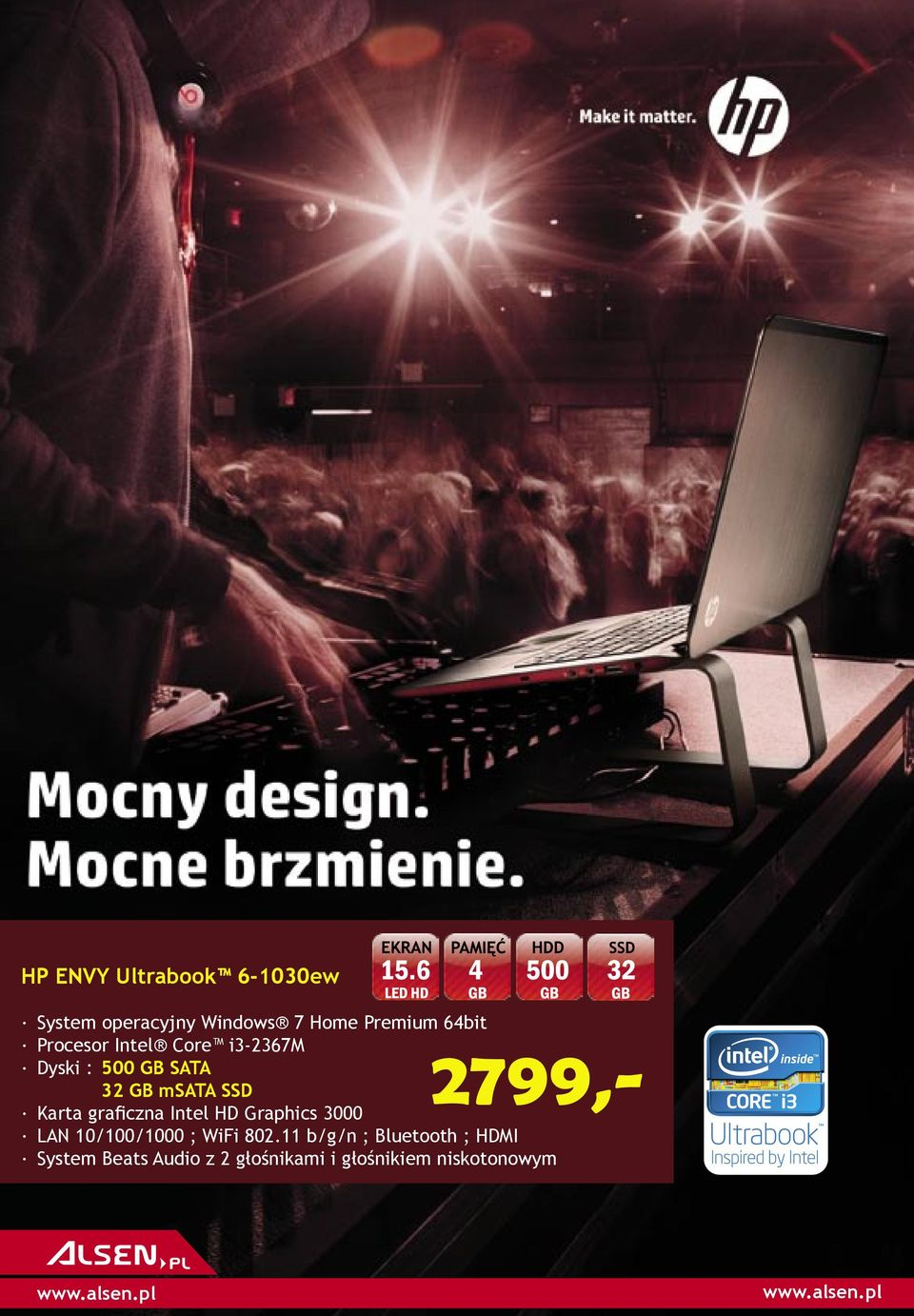 graficzna Intel HD Graphics 3000 LAN 10/100/1000 ; WiFi 802.