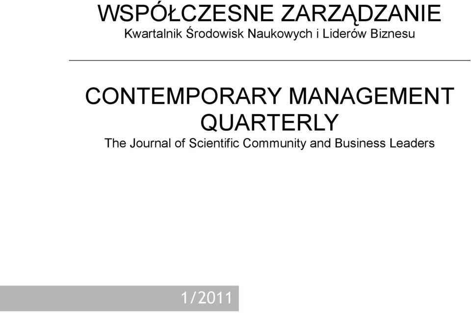 CONTEMPORARY MANAGEMENT QUARTERLY The