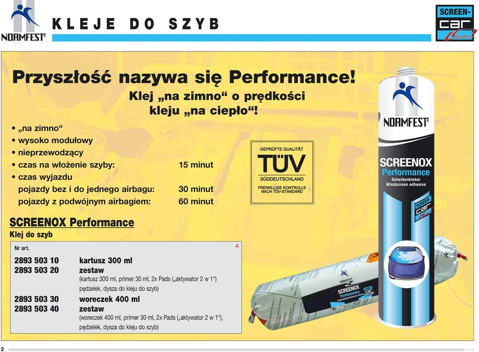 Performance Klej do szyb 15 minut 30 minut 60 minut SCREENOX Performance Scheibenkleber Windscreen adhesive 2893 503 10 kartusz 300 ml 2893 503 20 zestaw