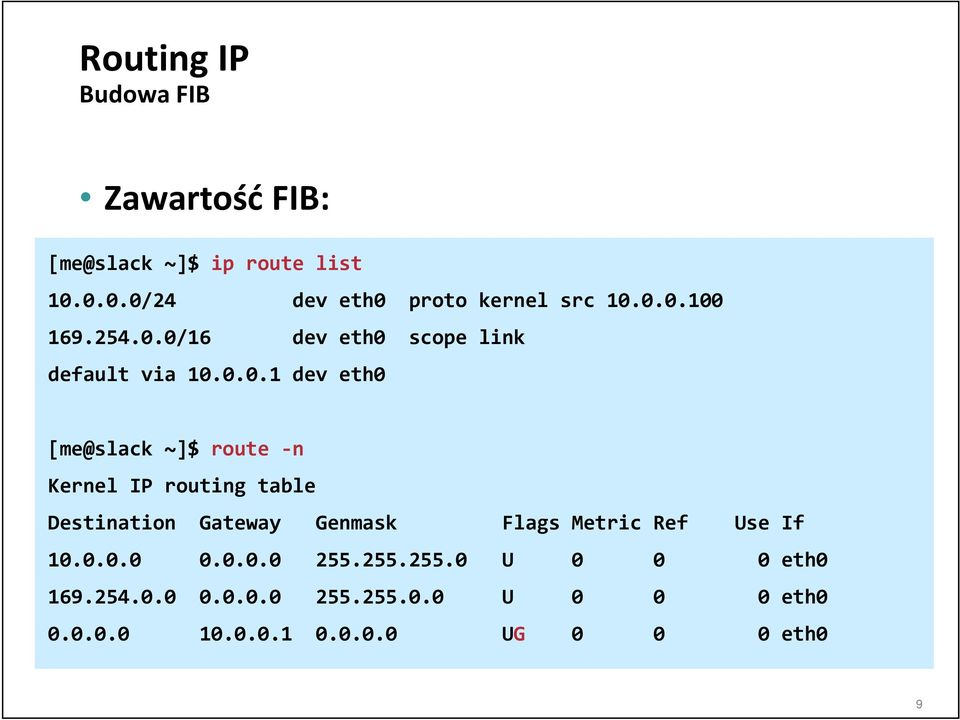 IP routing table Destination Gateway Genmask Flags Metric Ref Use If 10.0.0.0 0.0.0.0 255.