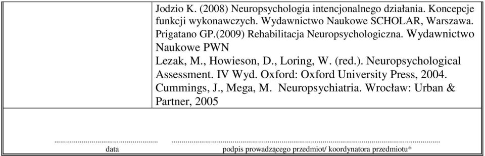 Wydawnictwo Naukowe PWN Lezak, M., Howieson, D., Loring, W. (red.). Neuropsychological Assessment. IV Wyd.