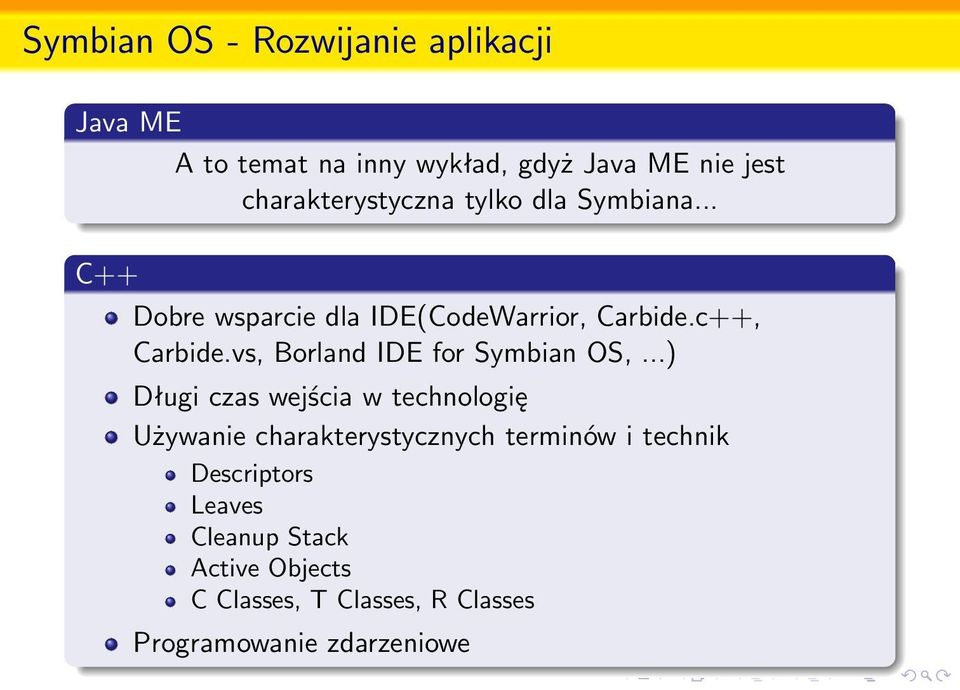 vs, Borland IDE for Symbian OS,.