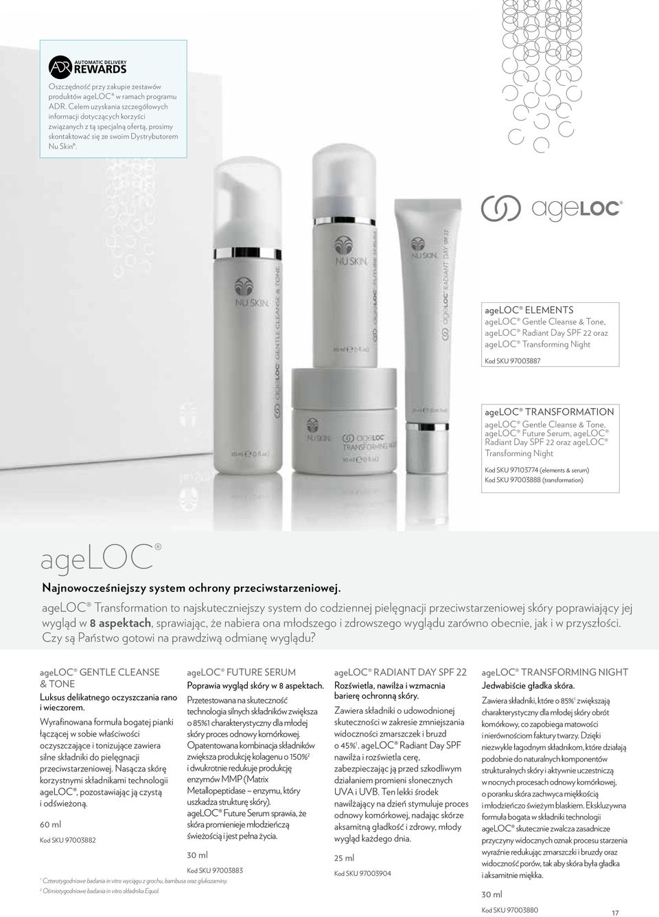 ageloc ELEMENTS ageloc Gentle Cleanse & Tone, ageloc Radiant Day SPF 22 oraz ageloc Transforming Night Kod SKU 97003887 ageloc transformation ageloc Gentle Cleanse & Tone, ageloc Future Serum, ageloc