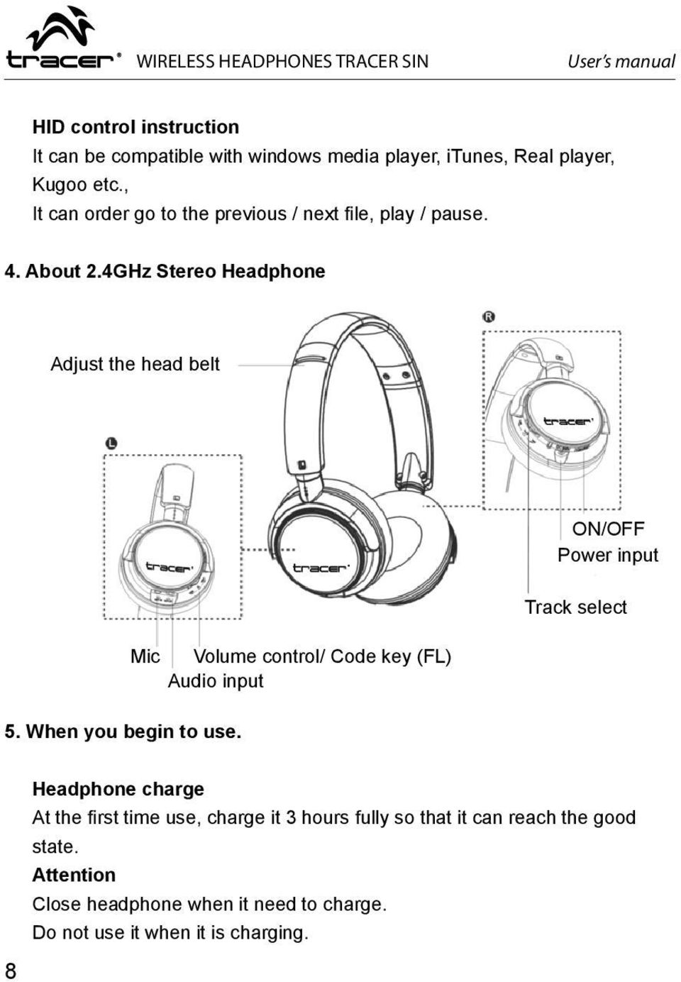 4GHz Stereo Headphone Adjust the head belt ON/OFF Power input Mic Volume control/ Code key (FL) Audio input Track select 5.
