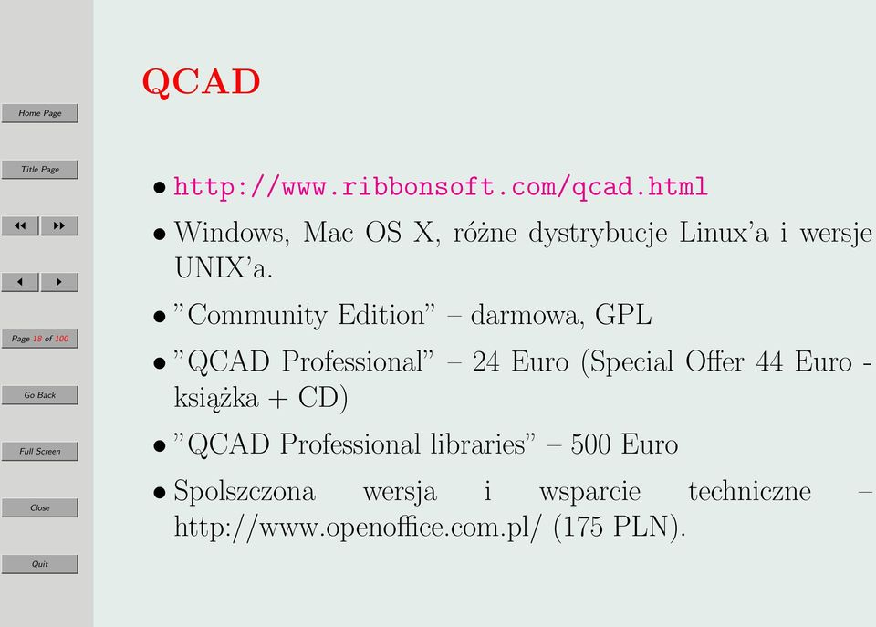 Community Edition darmowa, GPL QCAD Professional 24 Euro (Special Offer 44 Euro -