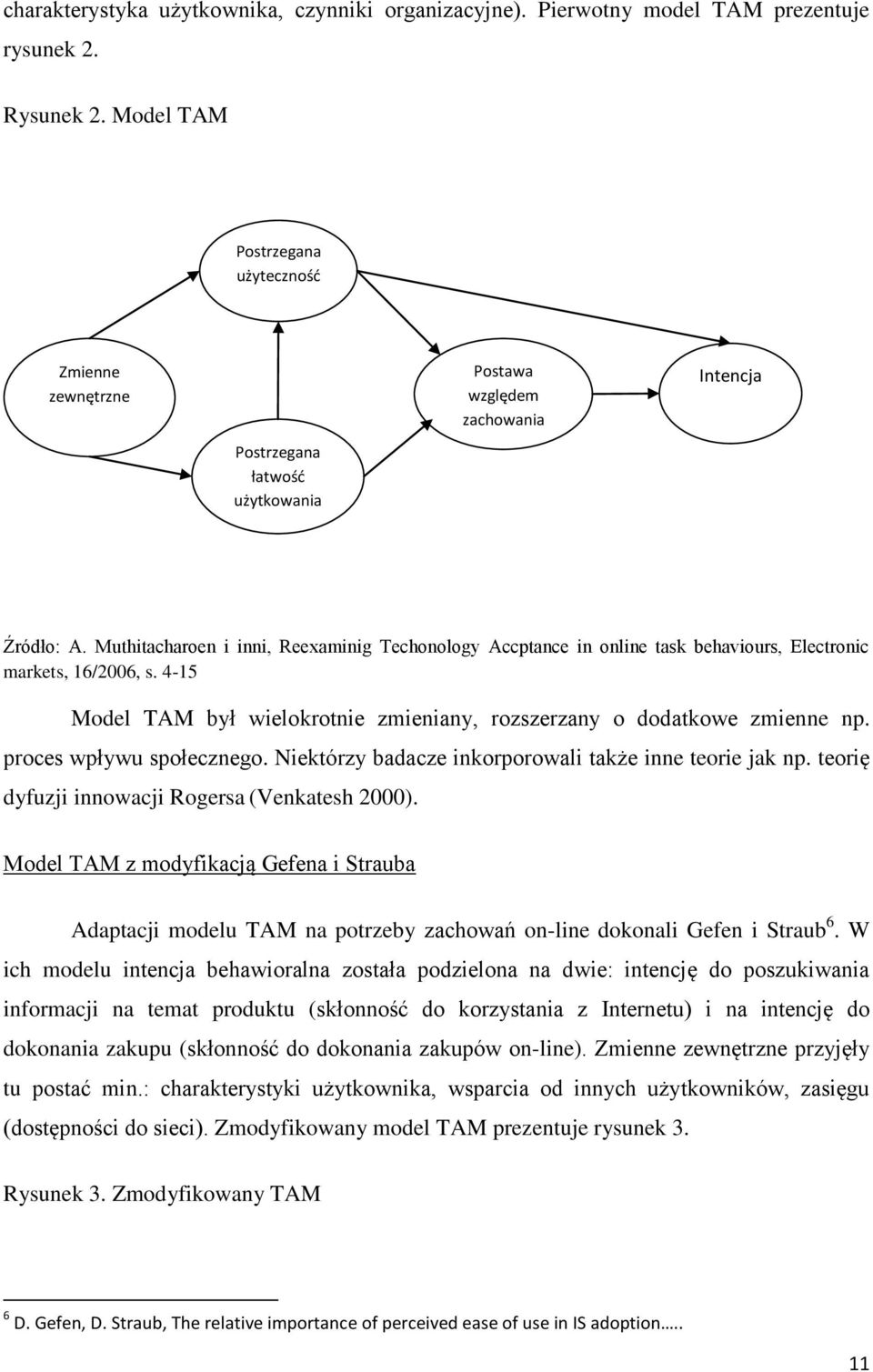 Muthitacharoen i inni, Reexaminig Techonology Accptance in online task behaviours, Electronic markets, 16/2006, s. 4-15 Model TAM był wielokrotnie zmieniany, rozszerzany o dodatkowe zmienne np.