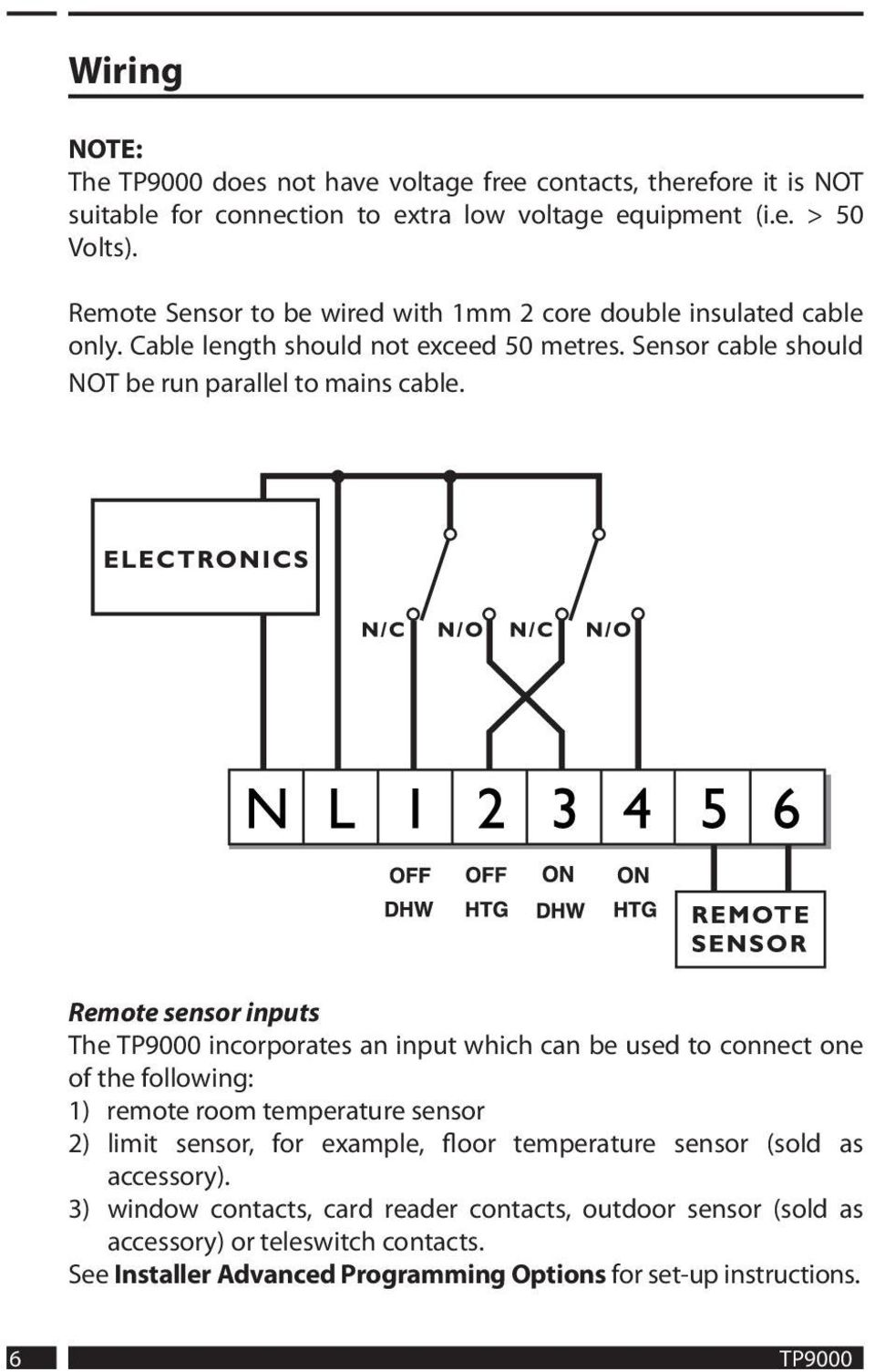 Remote sensor inputs The TP9000 incorporates an input which can be used to connect one of the following: 1) remote room temperature sensor 2) limit sensor, for example, floor