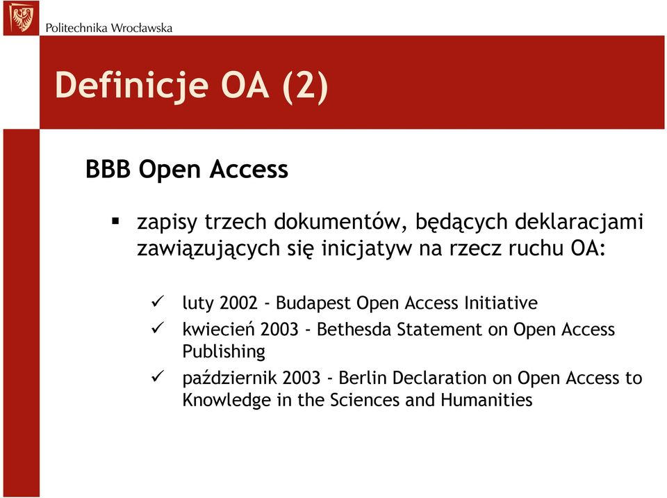 Initiative kwiecień 2003 - Bethesda Statement on Open Access Publishing