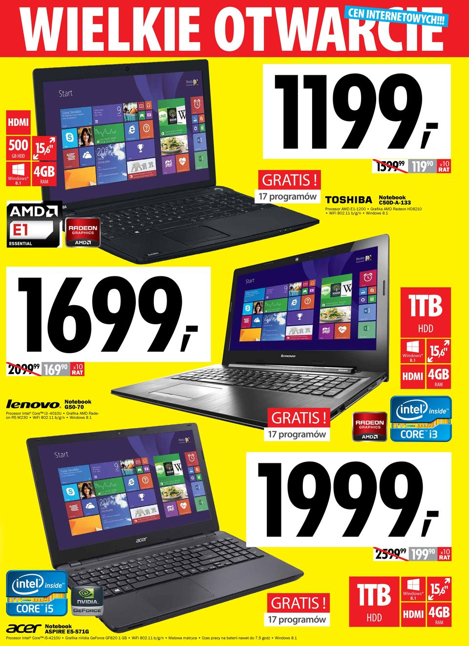 "1 15,6"" 4GB RAM Notebook G50-70 Procesor Intel Core i3-4010u Grafika AMD Radeon R5 M230 WiFi 802.11 b/g/n Windows 8.1 gratis!"