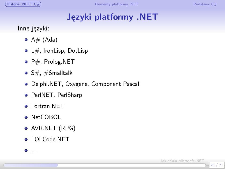 Prolog.NET S#, #Smalltalk Delphi.