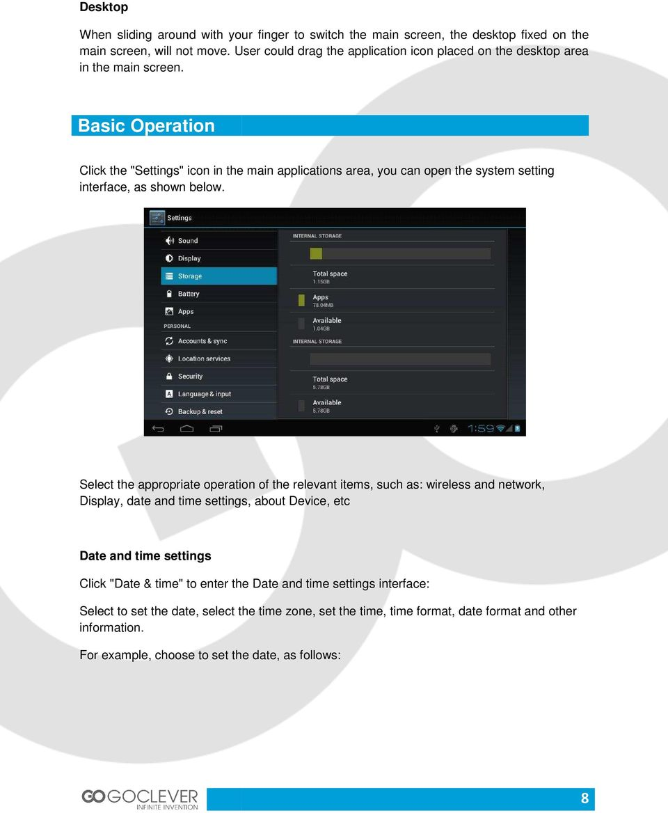 "Basic Operation Click the ""Settings"" icon in the main applications area, you can open the system setting interface, as shown below."