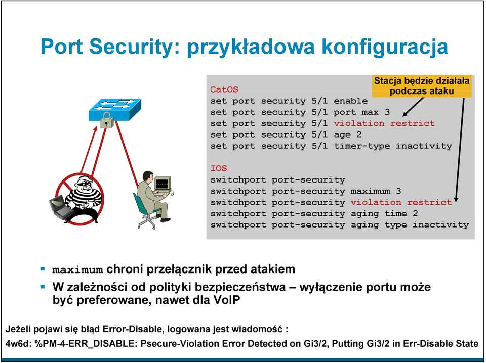 switchport port-security aging time 2 switchport port-security aging type inactivity maximum chroni przełącznik przed atakiem W zależności od polityki bezpieczeństwa wyłączenie portu może