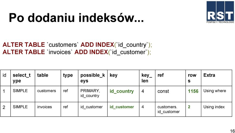 INDEX(`id_customer`); id select_t ype table type possible_k key eys key_ len ref row s