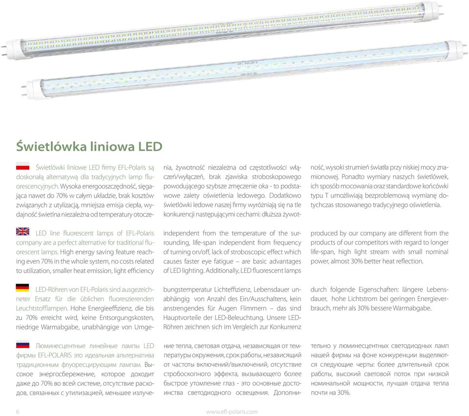life-span independent from frequency of turning on/off, lack of stroboscopic effect which causes faster eye fatigue are basic advantages of LED lighting.