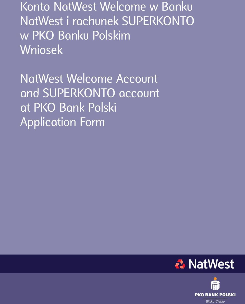 Wniosek NatWest Welcome Account and