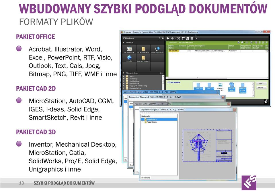 MicroStation, AutoCAD, CGM, IGES, I-deas, Solid Edge, SmartSketch, Revit i inne PAKIET CAD 3D Inventor,