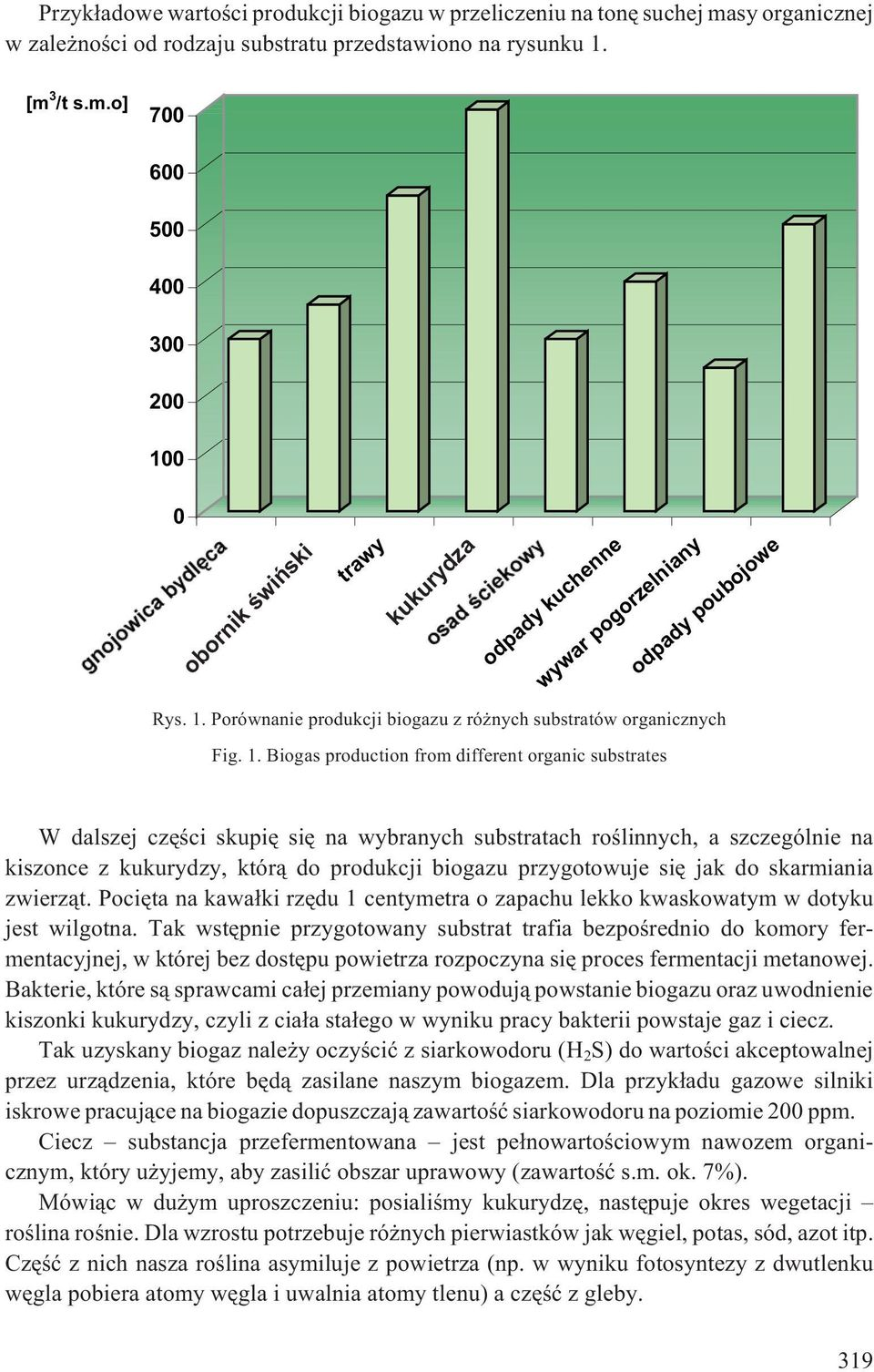 Biogas production from different organic substrates W dalszej czêœci skupiê siê na wybranych substratach roœlinnych, a szczególnie na kiszonce z kukurydzy, któr¹ do produkcji biogazu przygotowuje siê