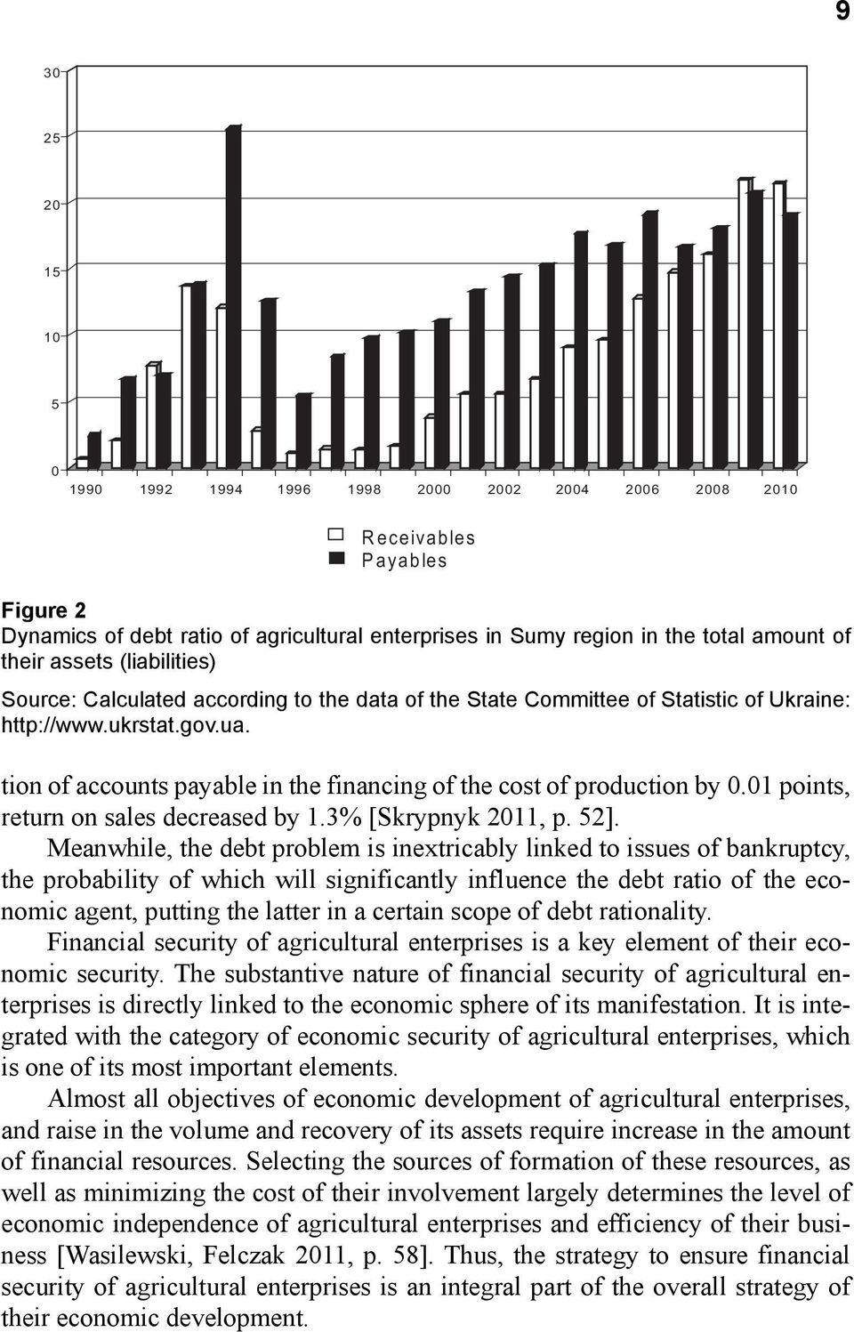 tion of accounts payable in the financing of the cost of production by 0.01 points, return on sales decreased by 1.3% [Skrypnyk 2011, р. 52].