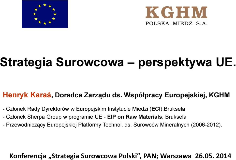 (ECI);Bruksela - Członek Sherpa Group w programie UE - EIP on Raw Materials; Bruksela -