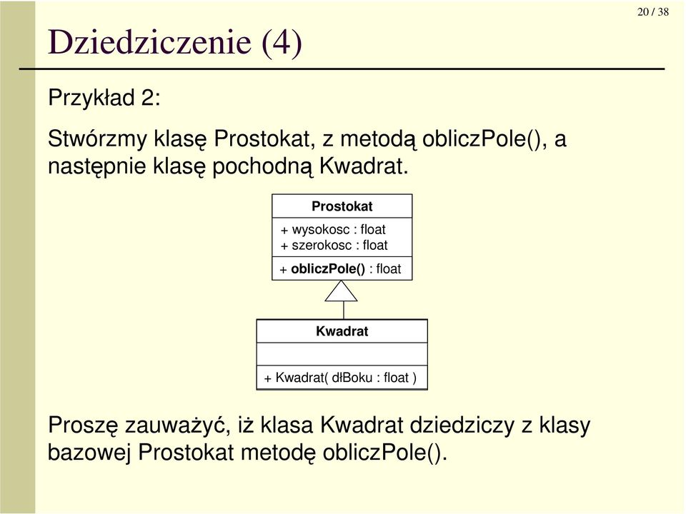 Prostokat + wysokosc : float + szerokosc : float + obliczpole() : float Kwadrat