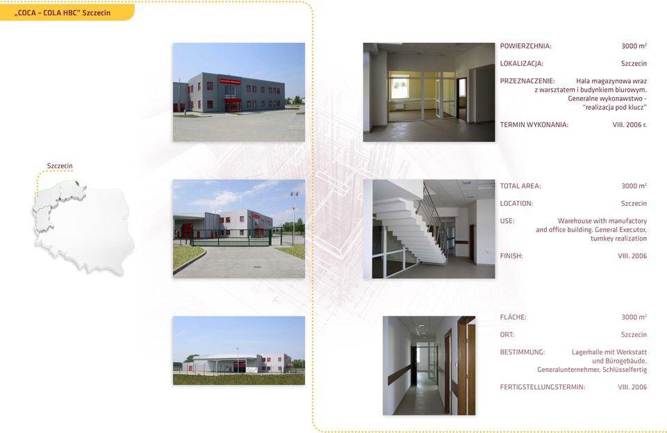 Szczecin 3000 m 2 Szczecin Warehouse with manufactory and office building.